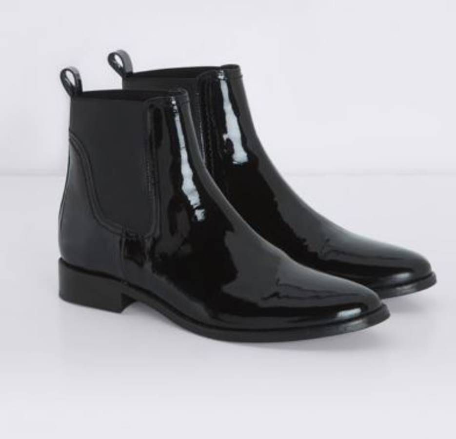 boots en cuir vernis noir claudie pierlot chaussures shoes pinterest vernis noir vernis. Black Bedroom Furniture Sets. Home Design Ideas