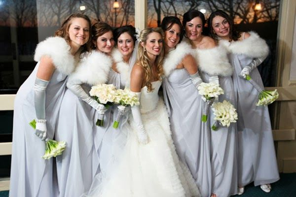 Simple And Plain Bridesmaid Dress Style Winter Wedding