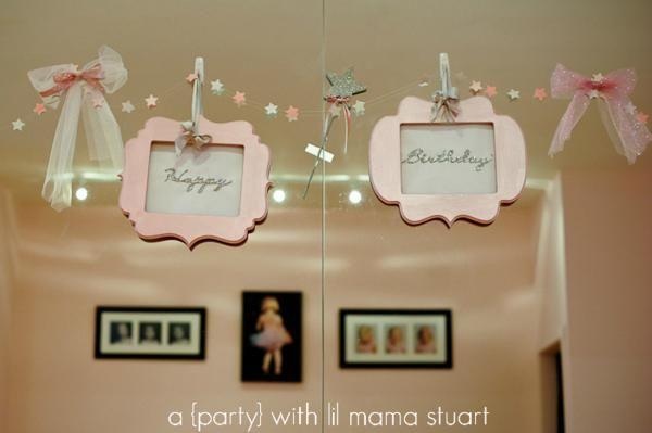 Pink Frames DIY Banner Backdrop for a Ballerina Party via