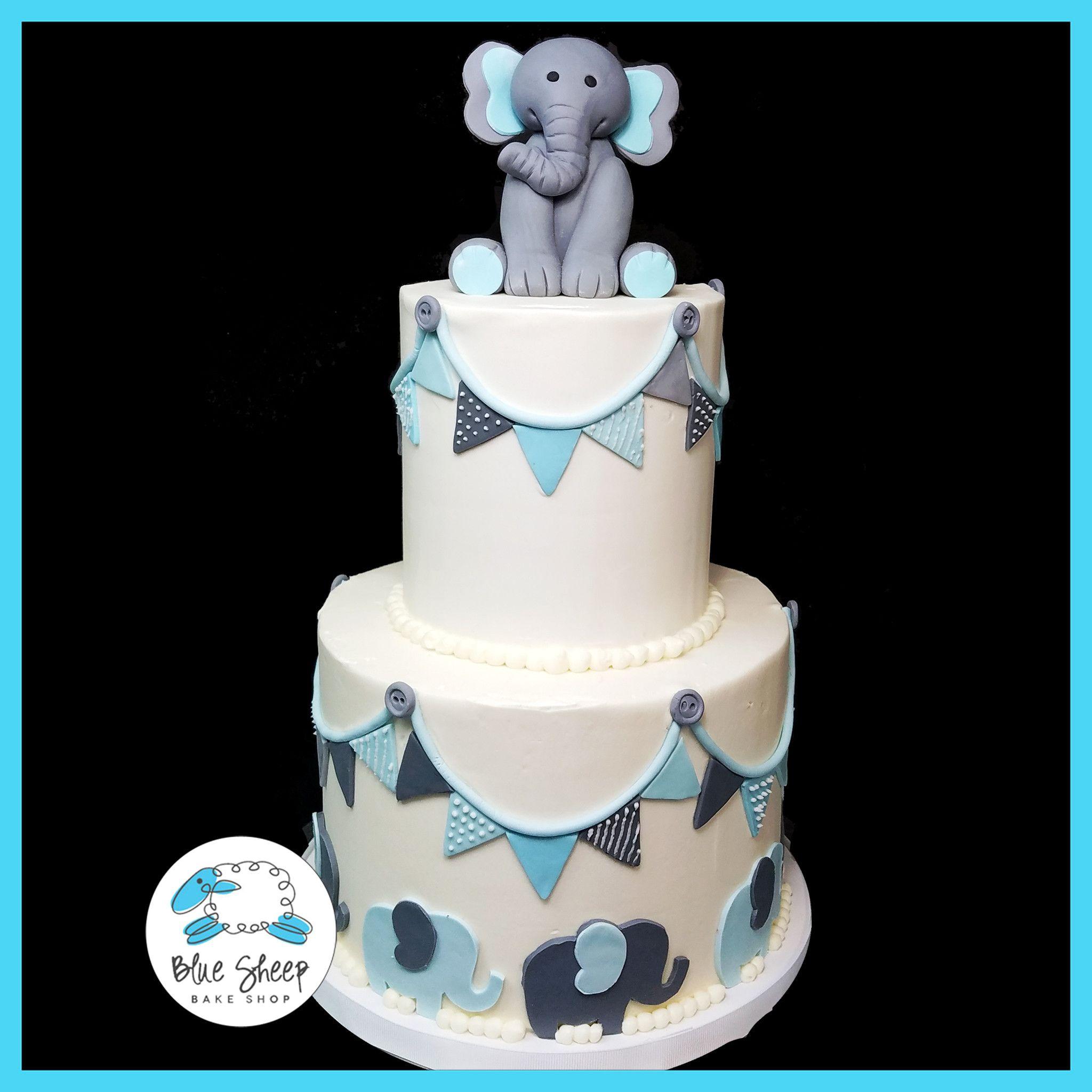 Buttercream Elephant U0026 Flags Baby Shower Cake | Blue Sheep Bake Shop