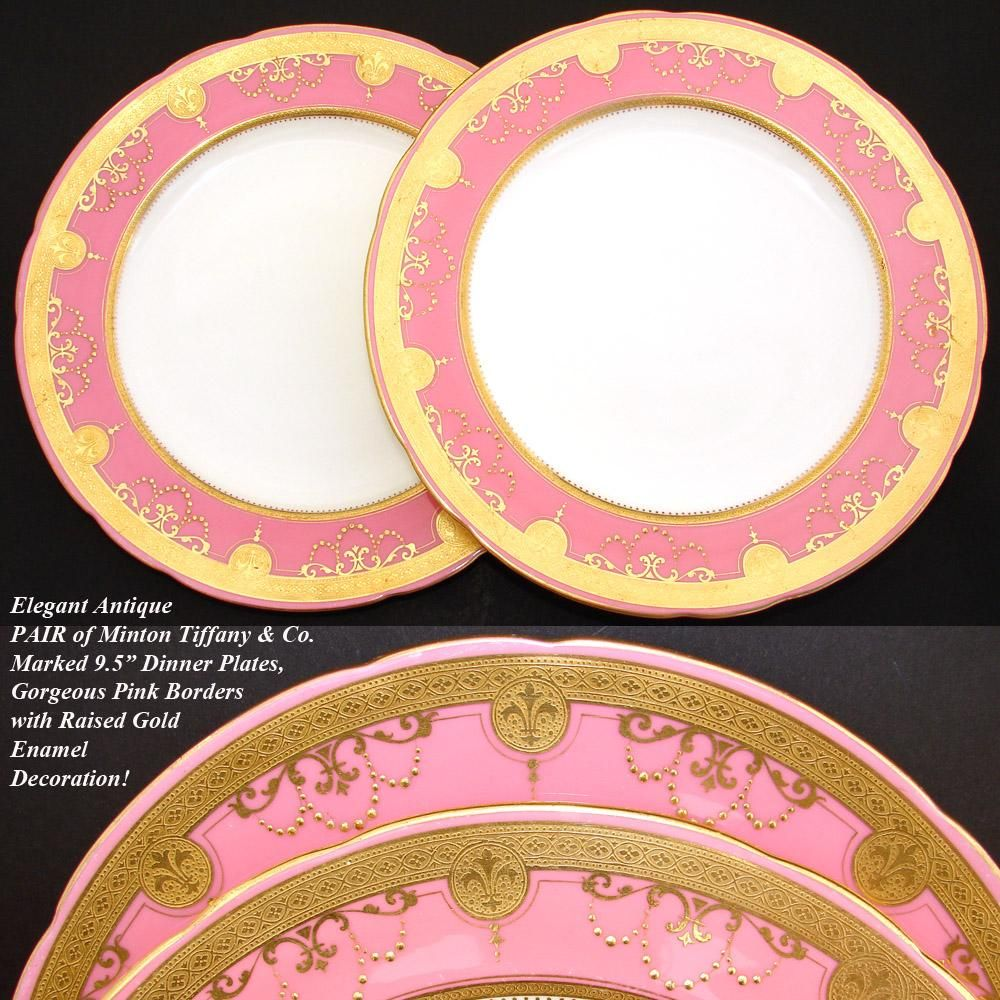 Elegant PAIR Antique Minton Tiffany \u0026 Co. 9.5\  Plate Set Pink \u0026 from & Elegant PAIR Antique Minton Tiffany \u0026 Co. 9.5\