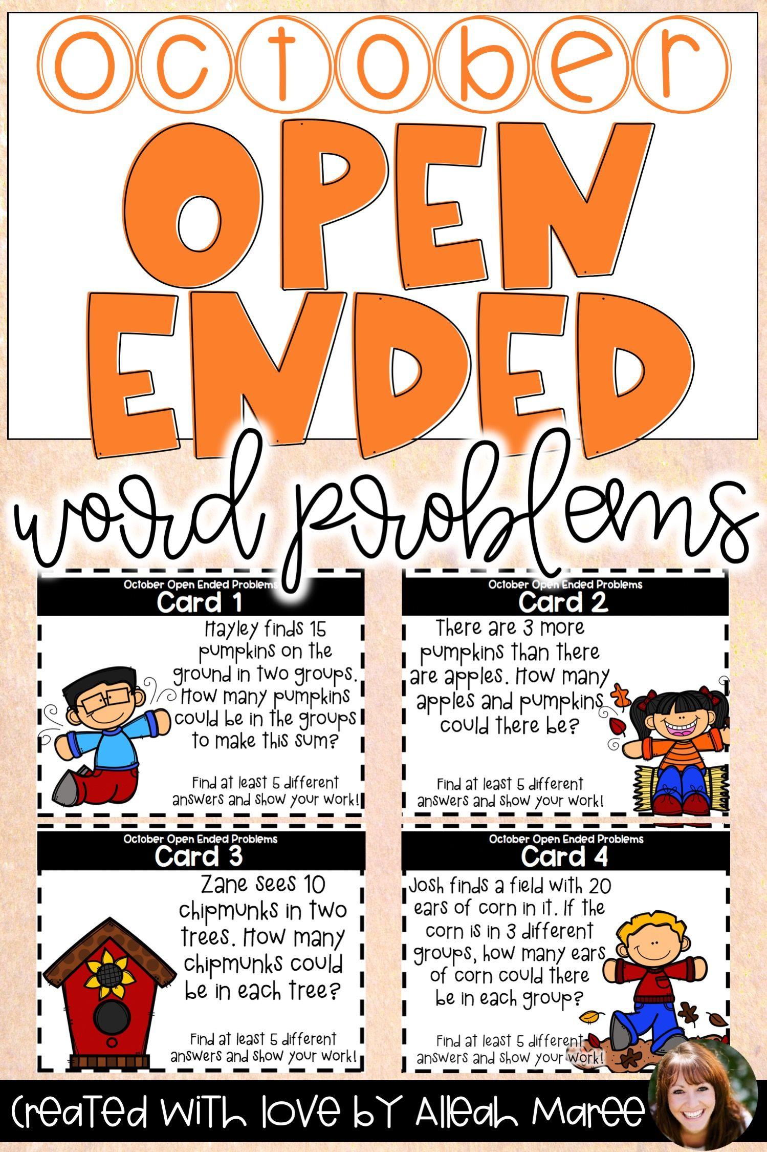 Open Ended Word Problem Task Cards For October
