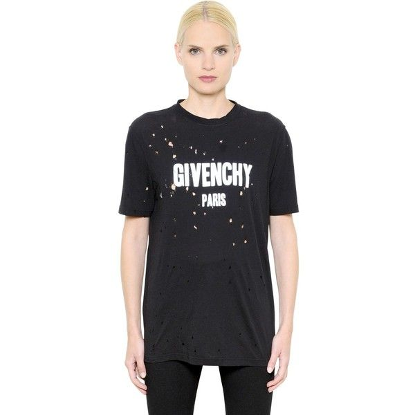 586aba50b787 Givenchy Women Logo Printed Destroyed Jersey T-shirt (31