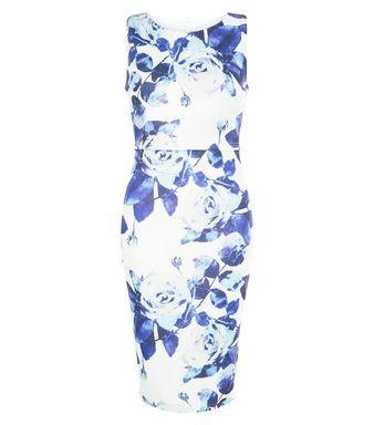 AX Paris Cream Floral Print Layered Midi Dress | New Look