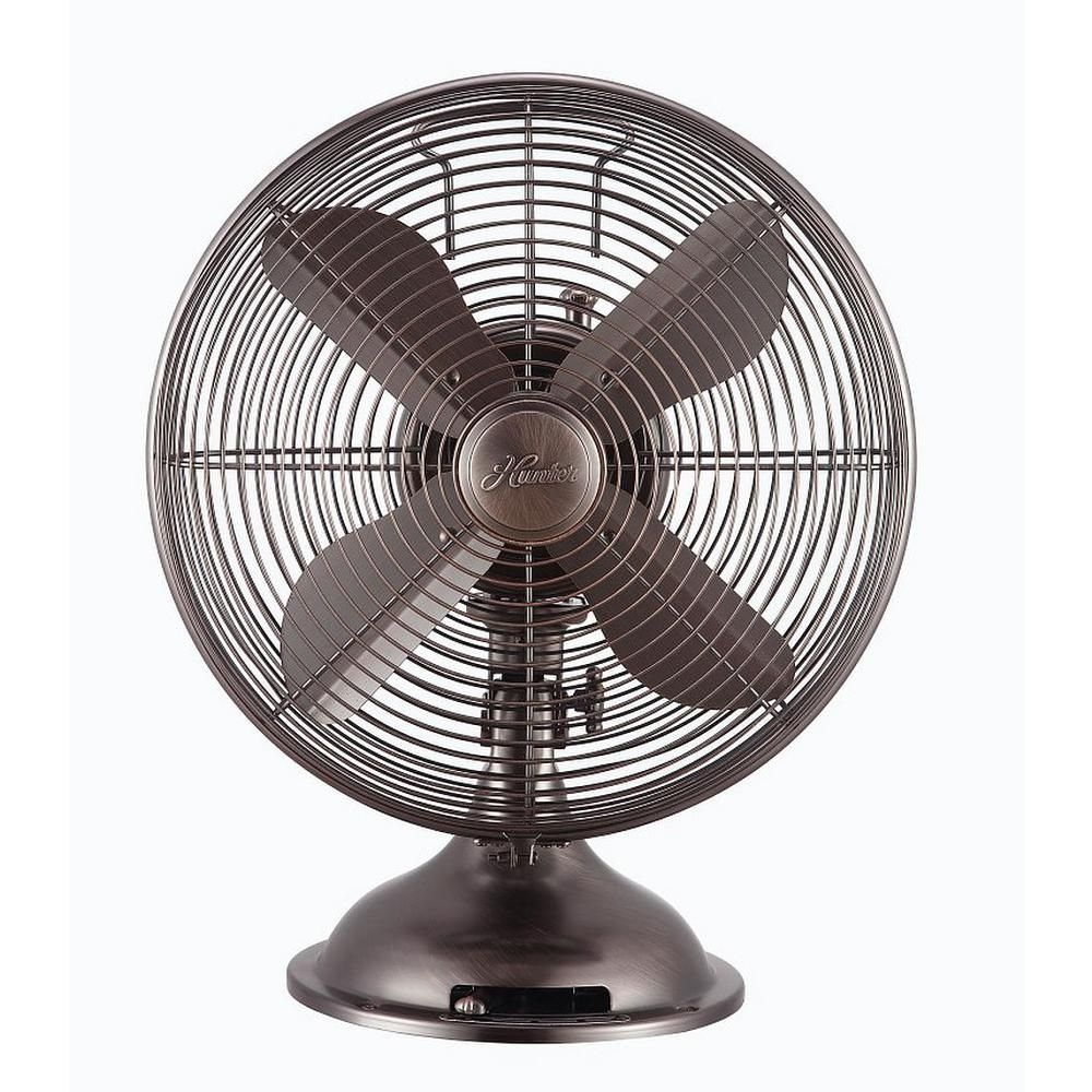 HUNTER 12 Retro Table Fan with All-Metal Construction Onyx Copper