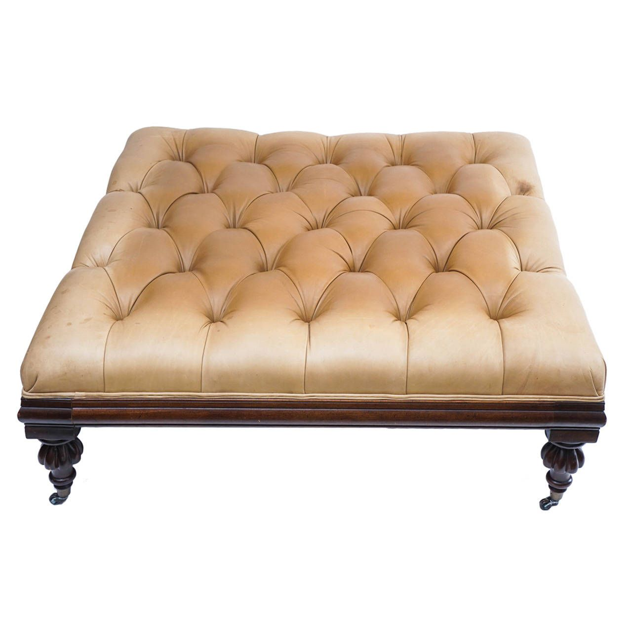 Large Henredon Leather Ottoman Or Coffee Table With Traditional Casters