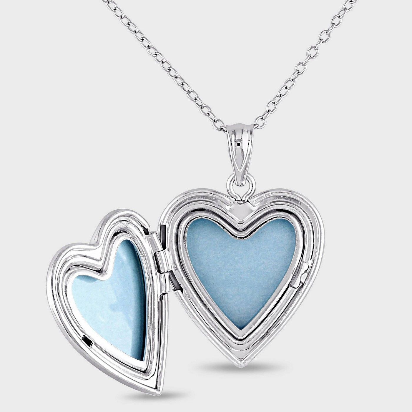 Silver Small Ribbed Heart 2 Pictures Locket