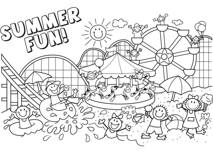 Summer fun coloring pages Summer coloring pages, Summer