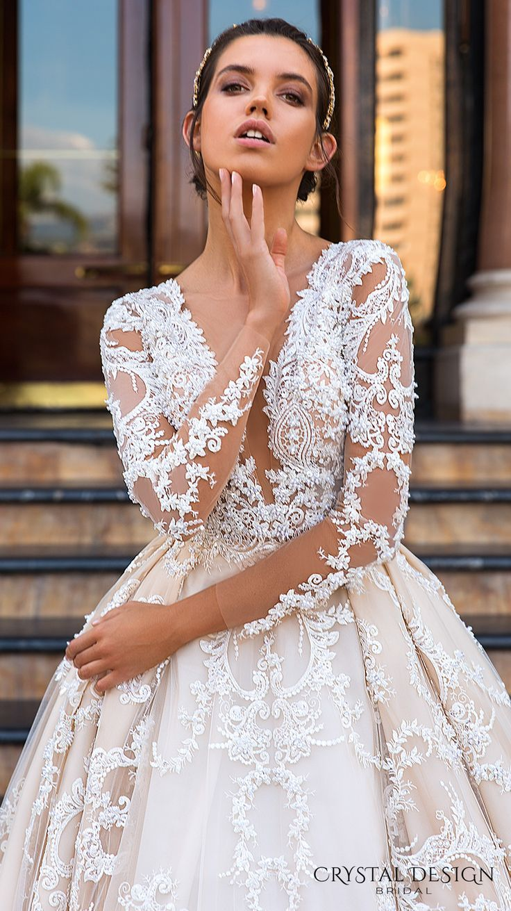 Crystal design bridal long sleeves deep plunging v neck full