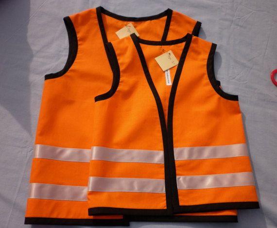 Kids Orange Work Site Safety Vest Fully Washable Construction Worker Hi Visability Dress