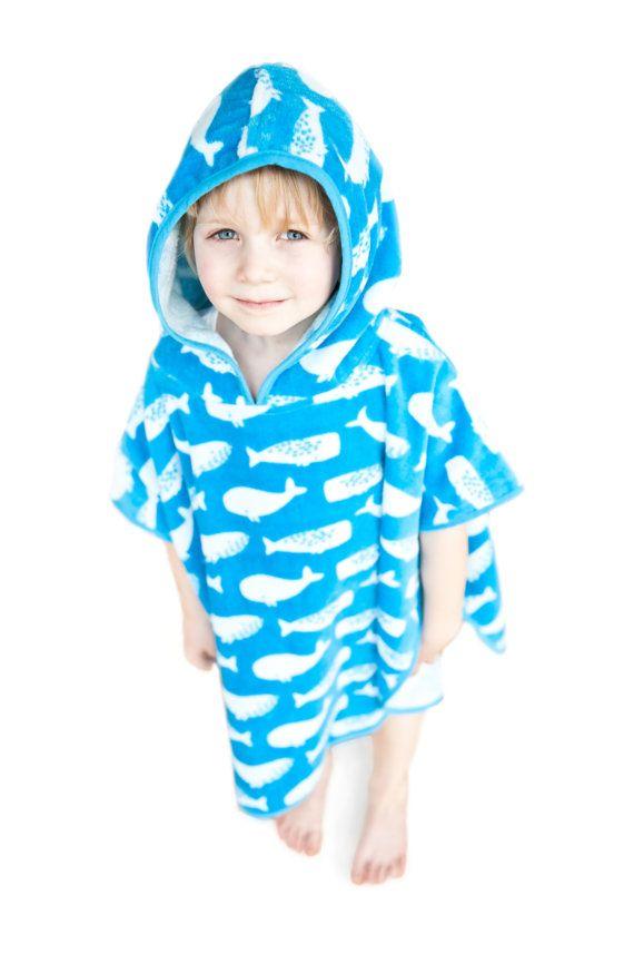 CHILDS KIDS PONCHO SWIMMING SWIM HOODED TOWEL TOWELS
