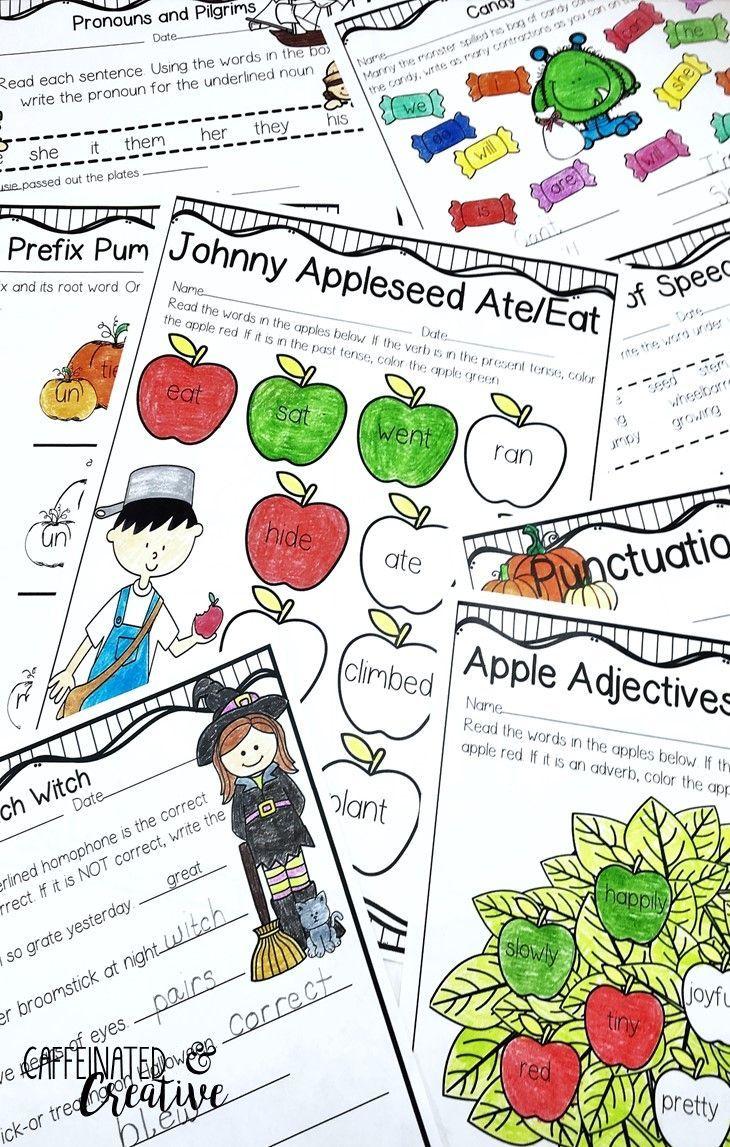 Fall Literacy Pack No Prep Second Grade Second grade