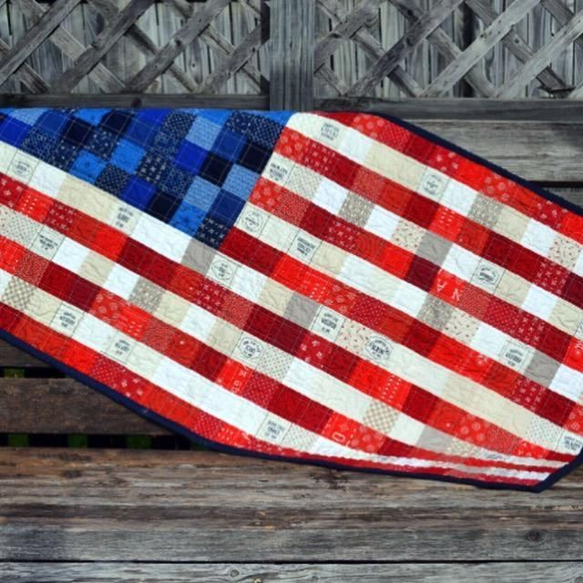Scrappy American Flag Quilted Wall Hanging #americanflag