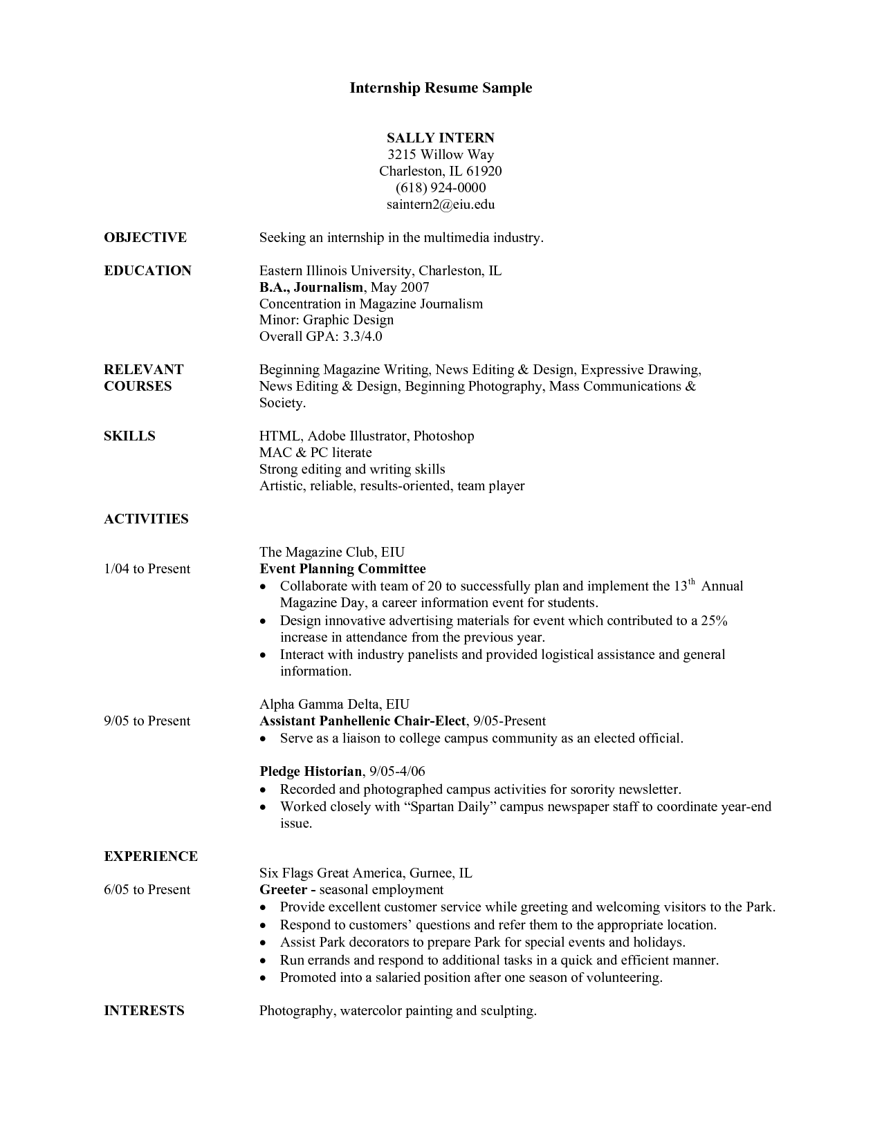 Student Resume Example Sample College Internship Samples Students  Sample College Resume