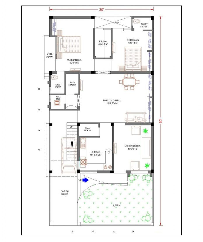 30 Feet By 60 Feet 30x60 House Plan Decorchamp Home Design Floor Plans Indian House Plans House Map