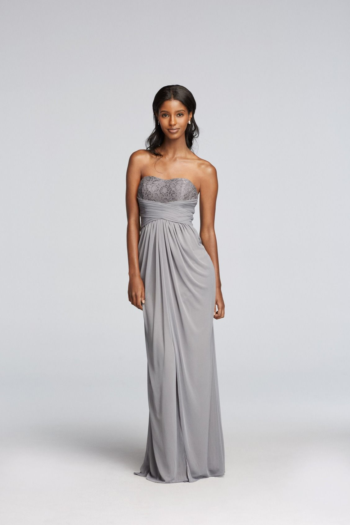 Silver long strapless metallic lace and pleated waist davids silver long strapless metallic lace and pleated waist davids bridal bridesmaid dress ombrellifo Image collections