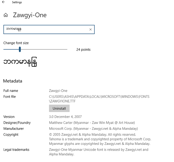 Install Zawgyi Font in Windows 10 (Myanmar/Burmese