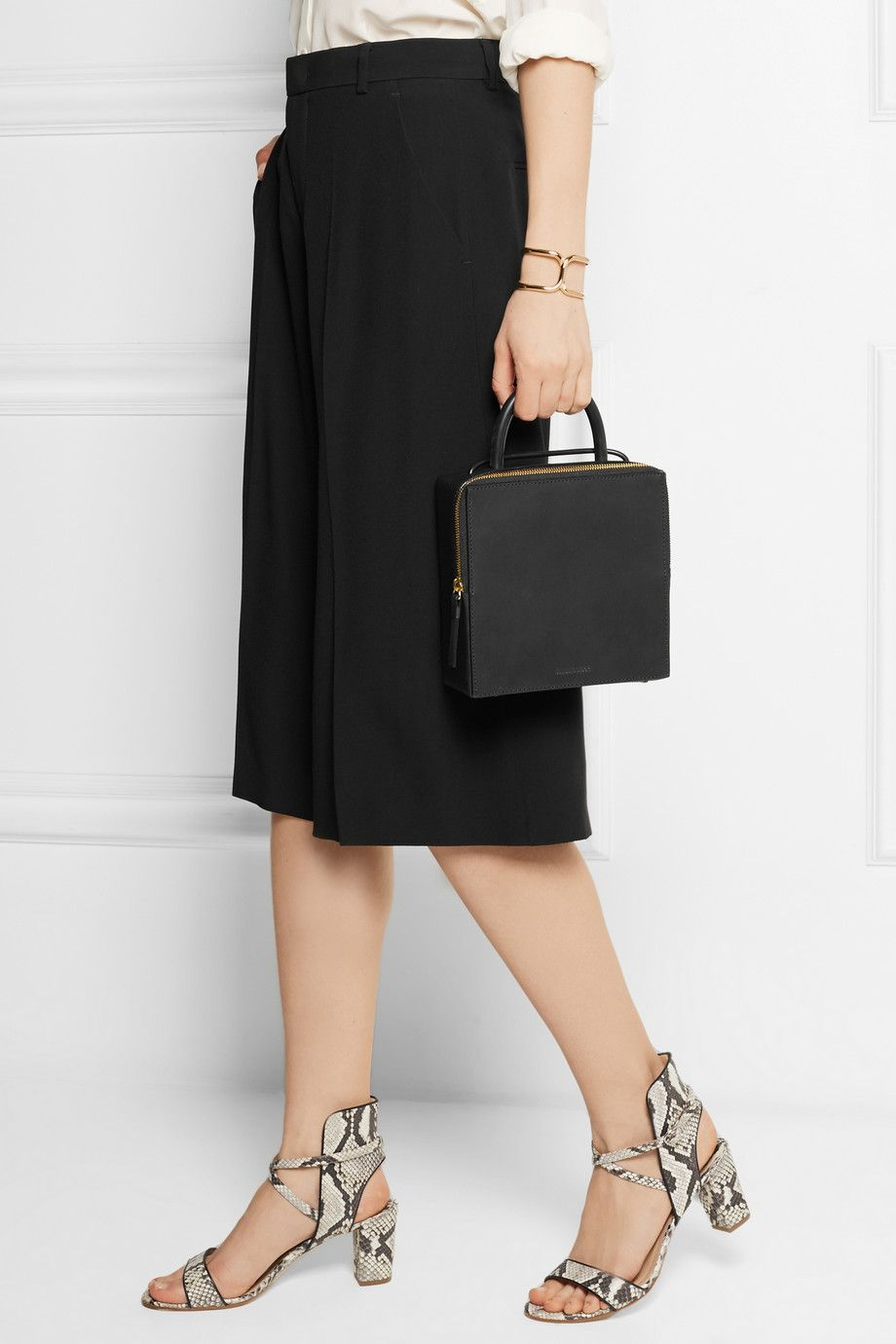 Box Leather Shoulder Bag - Black Building Block sleFK3PyiR