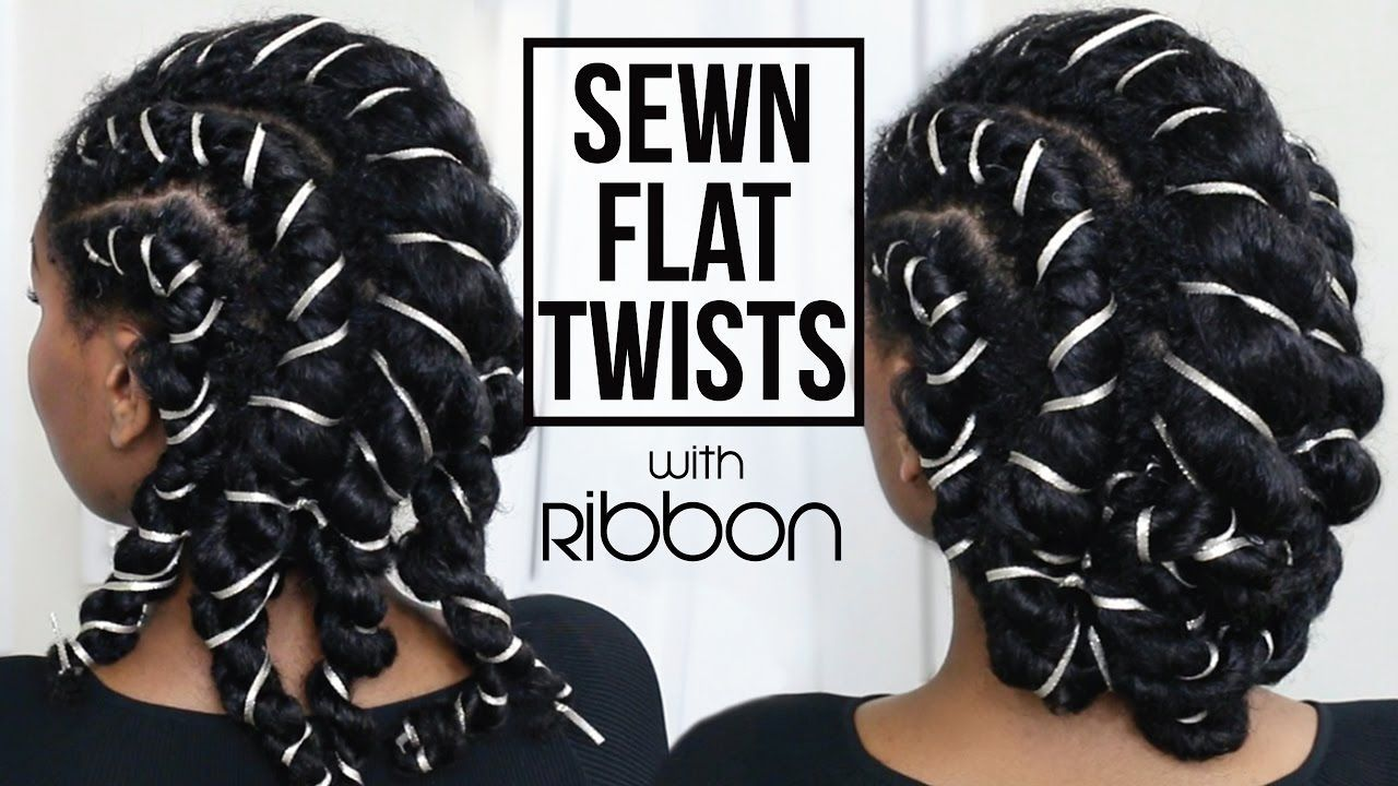 Sewn flat twists with ribbon updo protective style youtube