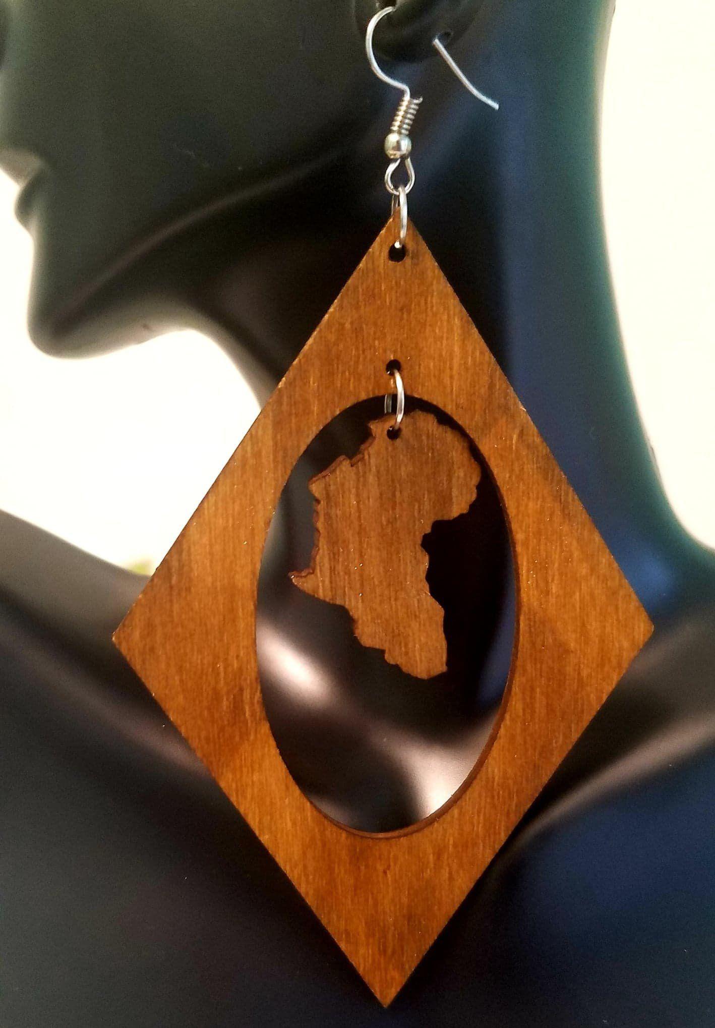 Body piercing map  Open African Map Dangle Drop Diamond Natural Wood Long Earrings