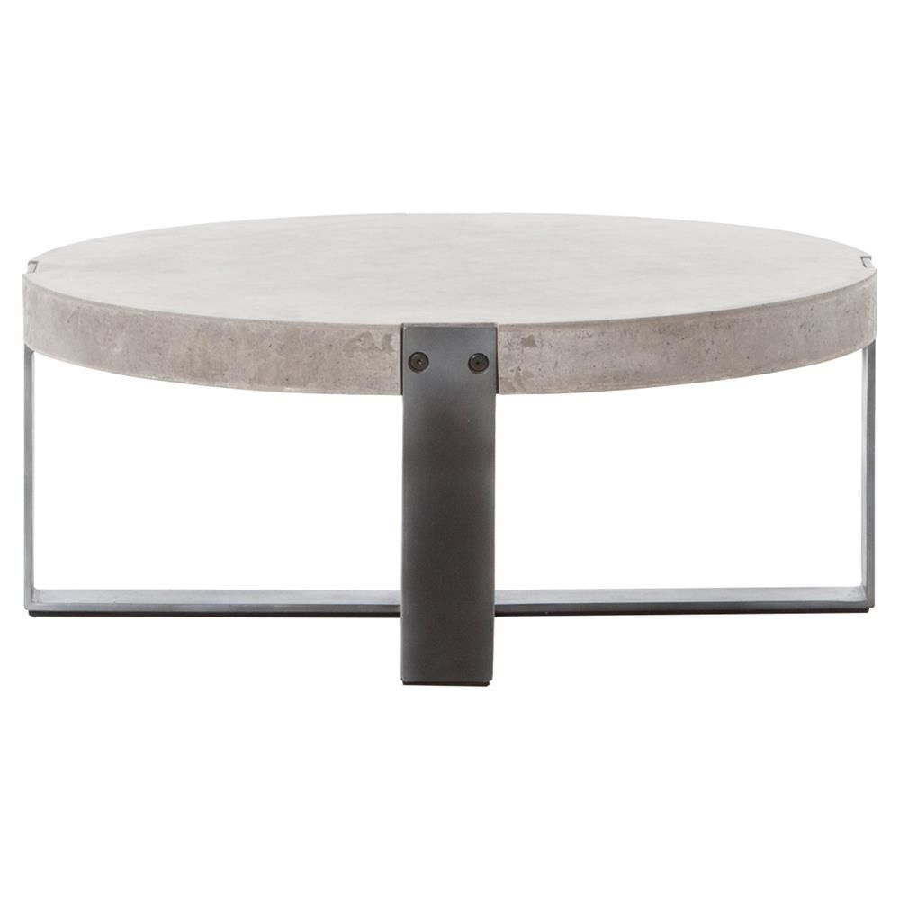 Frantz Grey Metal Concrete Round Coffee Table 30d Kathy Kuo Home