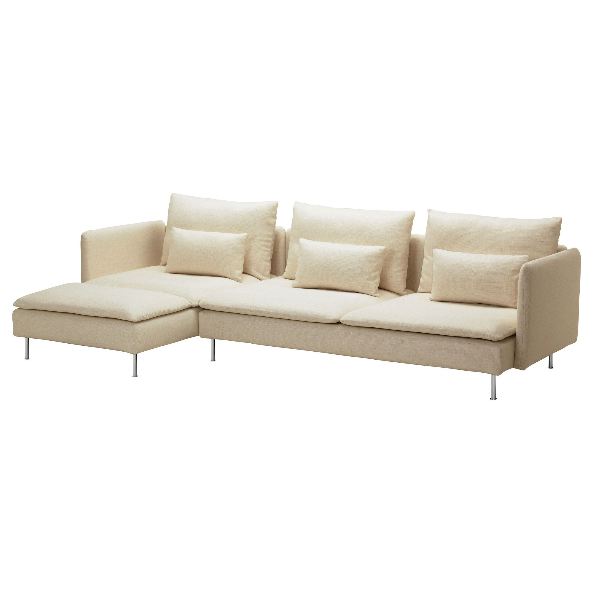 SÖDERHAMN 3er-Sofa und Récamiere - Isefall natur - IKEA