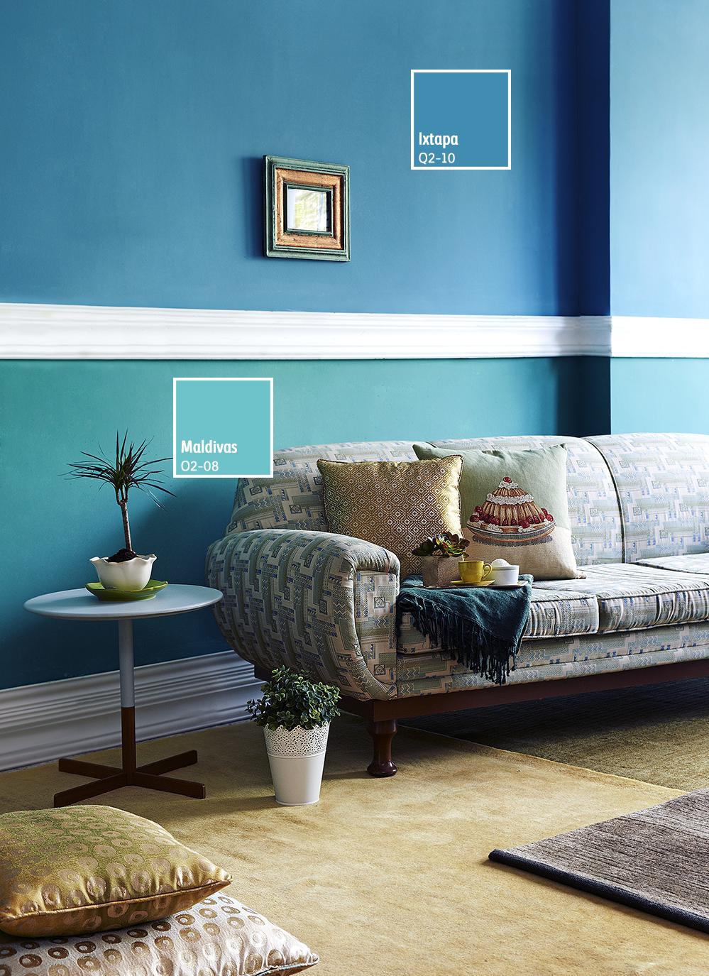 Los Tonos Azules Son Perfectos Para Darle Un Toque Vintage A Tus Espacios Pintura De Interiores Colores De Interiores Salas Coloridas