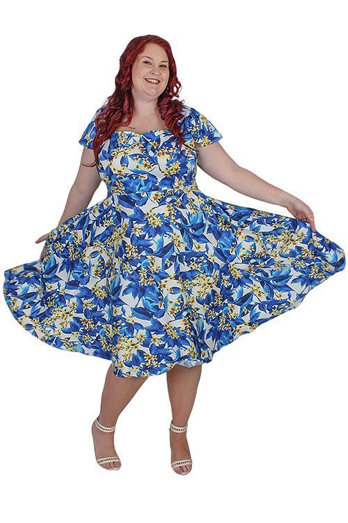 Shop Online For Plus Size Vintage Rockabilly Pinup Blue Floral