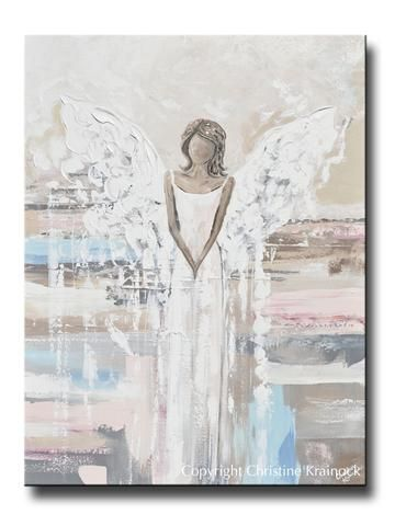 Photo of ORIGINAL Abstract Angel Painting Textured Guardian Angel White Grey Blue Pink Home Wall Decor 30×40