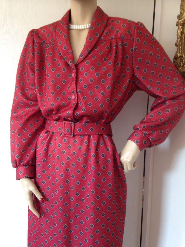 80s Vtg Red Floral Dot Tea Dress Housewife Rockabilly Dita 40s 50s