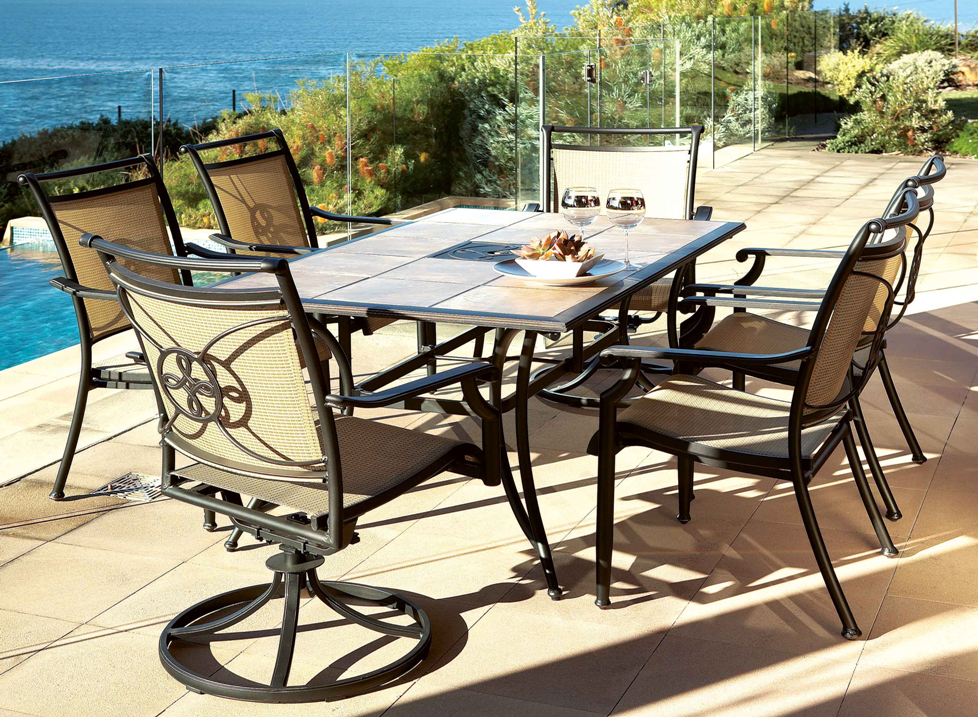 Melia 7 piece outdoor setting by debonaire furniture from for Outdoor furniture harvey norman
