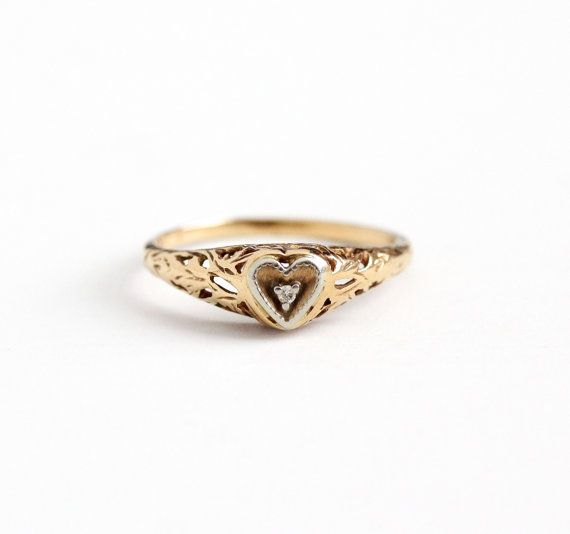 Sale Vintage 10k Yellow Gold Art Deco Heart Diamond Ring Size 7 Filigree 1930s Romantic Promise Engagem Diamond Heart Ring Jewelry Antique Engagement Rings