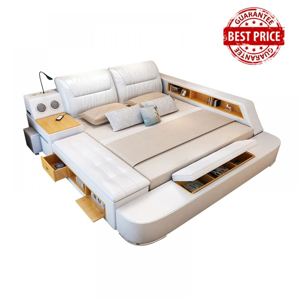 All In One Leather Double Bed Frame With Massage Speakers Storage Safe
