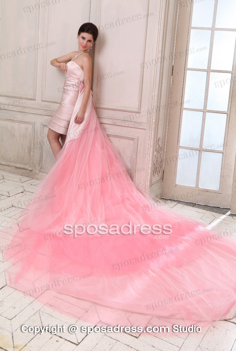 Wedding dress with long train  Convertible Pink Strapless Long Train Wedding Gown  R  Pinterest