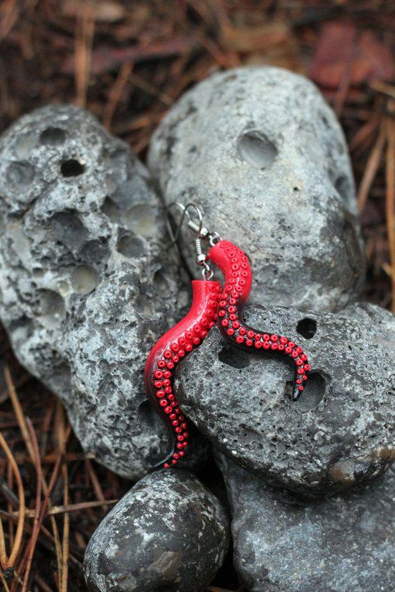 Red Black Octopus Earrings, Tentacle Earrings, Polymer Clay Tentacle ...