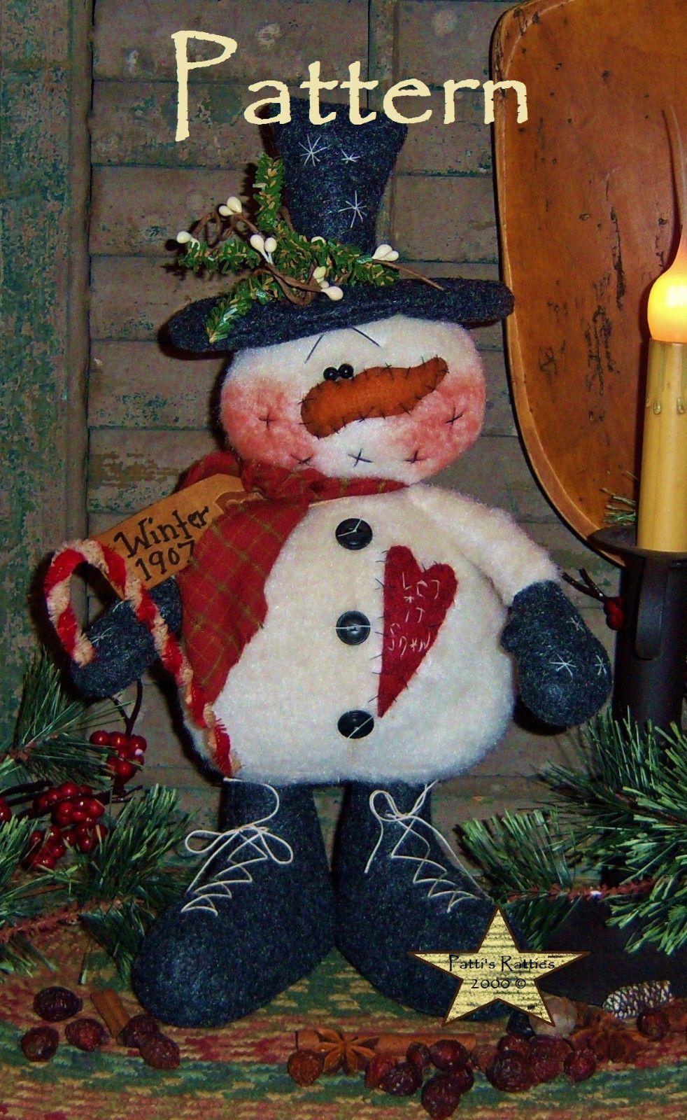 Primitive Patti/'s Ratties Originals Winter Moose Lodge Doll Paper Pattern #530