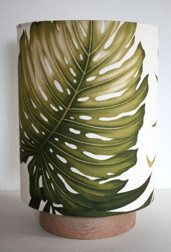palm leaf barkcloth table lamp