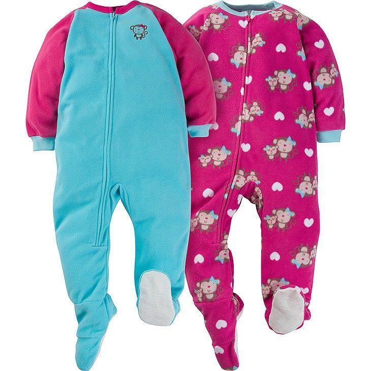 2-Pack Girls Monkey Toddler Blanket Sleepers | Toddler, Comforters cozy, Blanket  sleeper