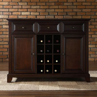 Newport Buffet Server / Sideboard with Wine Storage - Vintage Mahogany - KF42001CMA - Crosley Radio $529