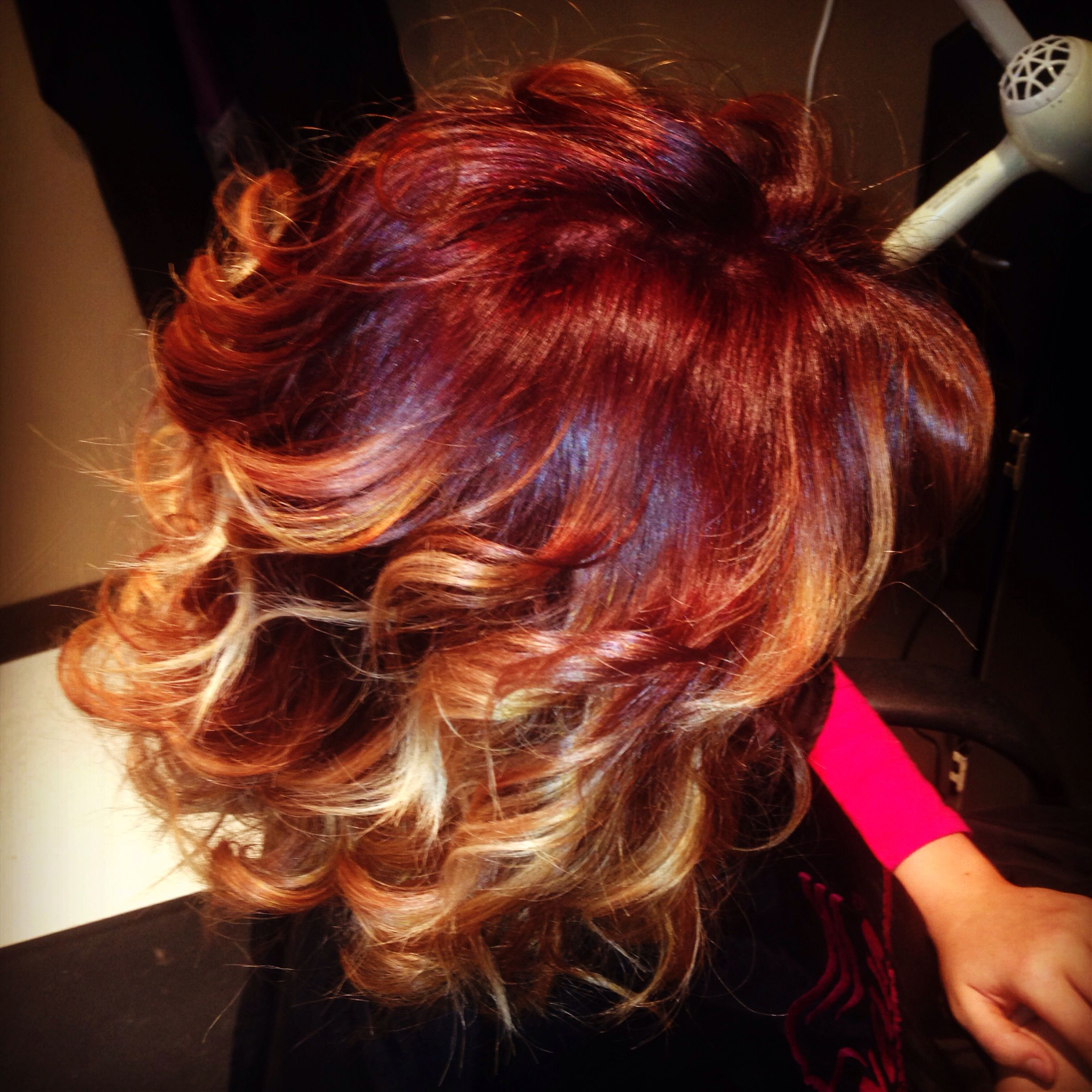 Red To Blonde Ombre On Short Hair Hairbyjesi Red Blonde Ombre Short Ombre Hair Ombre Hair Blonde