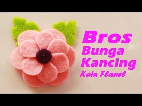 Cara Membuat Bros Bunga Kancing Dari Kain Flanel Youtube Kain Flanel Bunga Pola Flanel