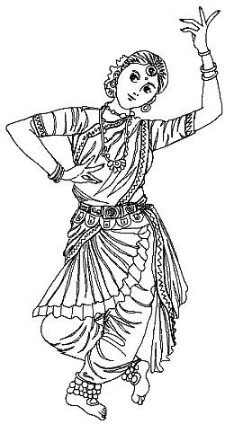 Indian coloring pages free ~ Saree/Indian Girl Coloring Page | Princess coloring pages ...