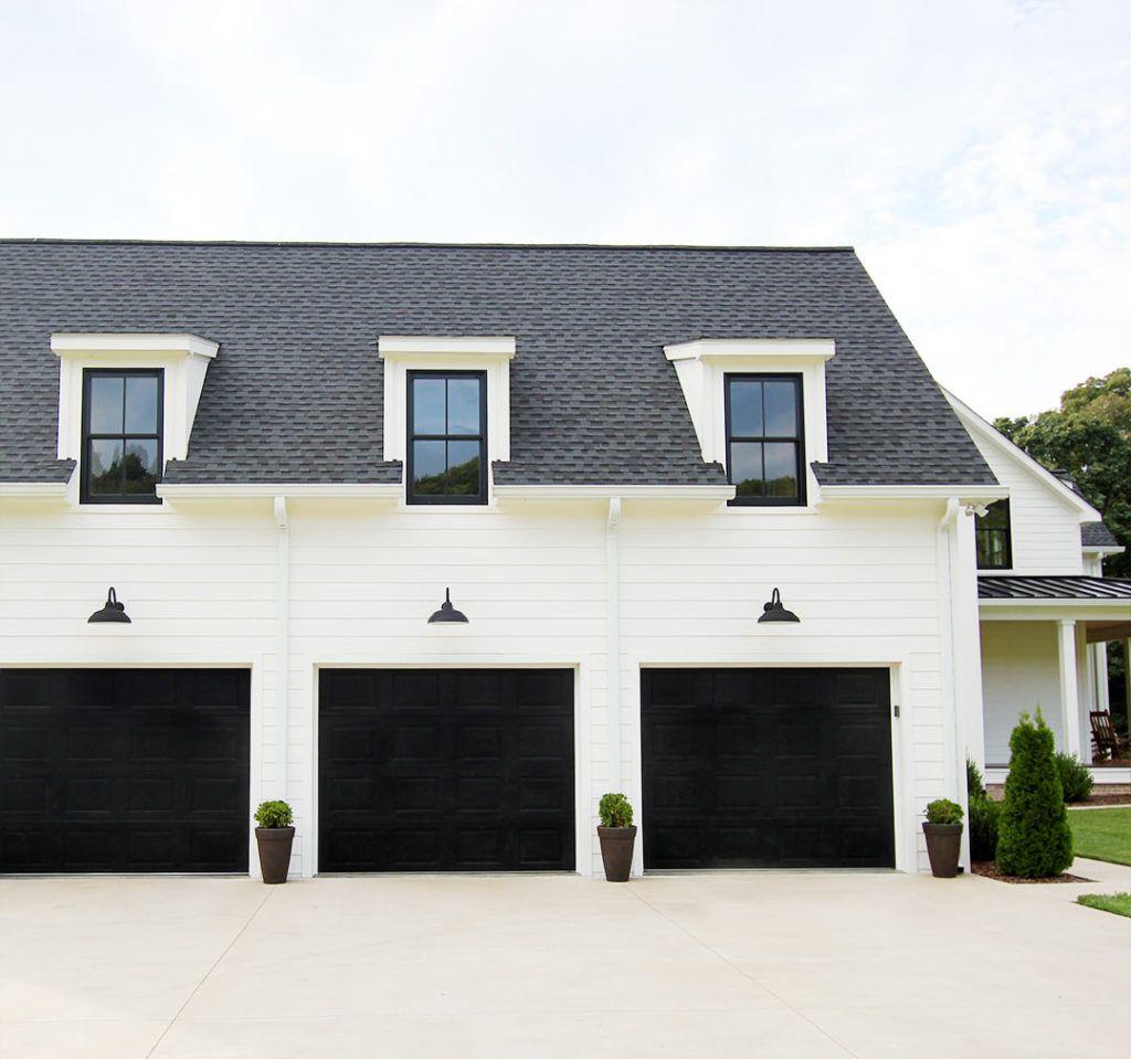 Cost To Build A Detached Garage Diy Garage Is A Great Way To Save Money Garage Garageideas Garage Door Design White Exterior Houses Garage Exterior
