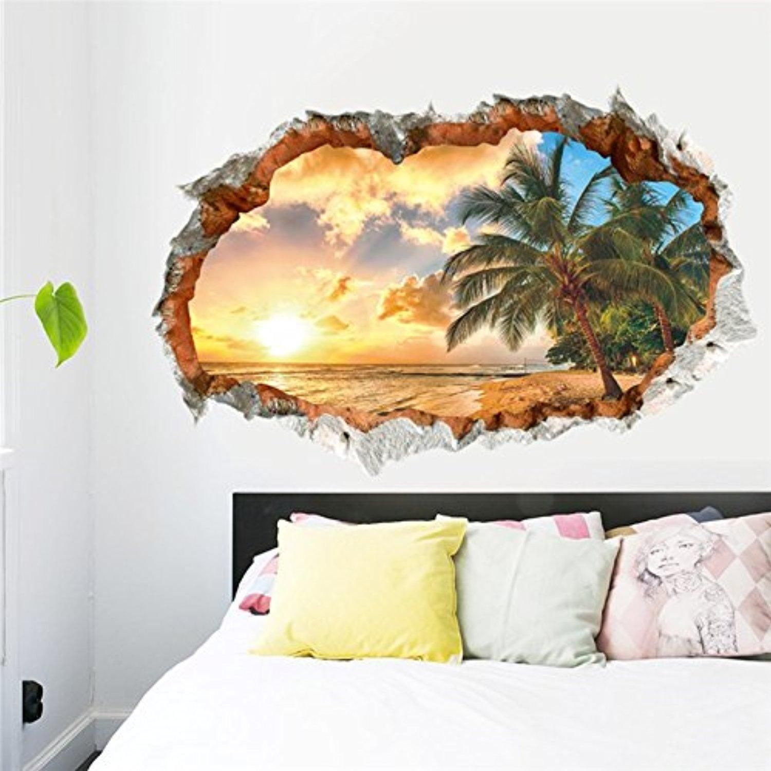 Dragon honor d window sunset sea removable vinyl wall sticker decal