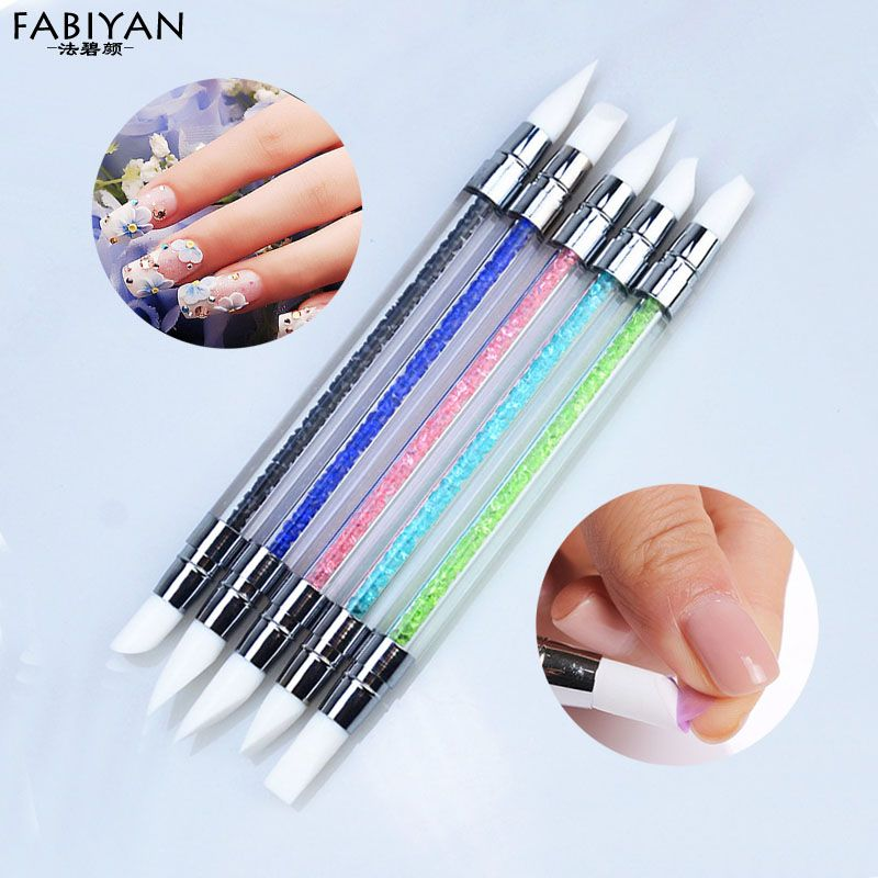 5Pcs Nail Art Polish Carving Dotting Painting Pen Brushes Silicone ...