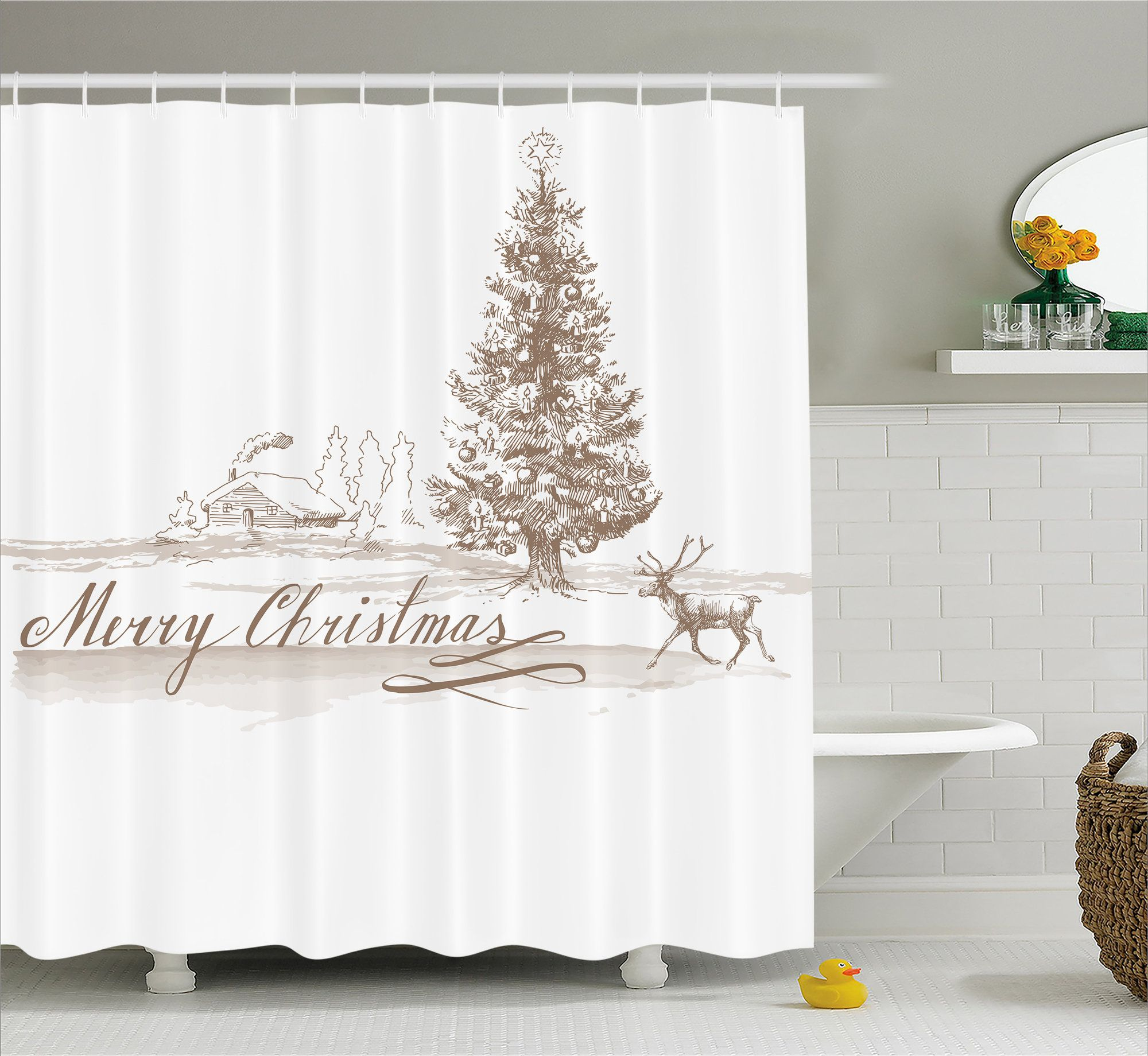 Bateson Vintage Classic Xmas Single Shower Curtain  Christmas