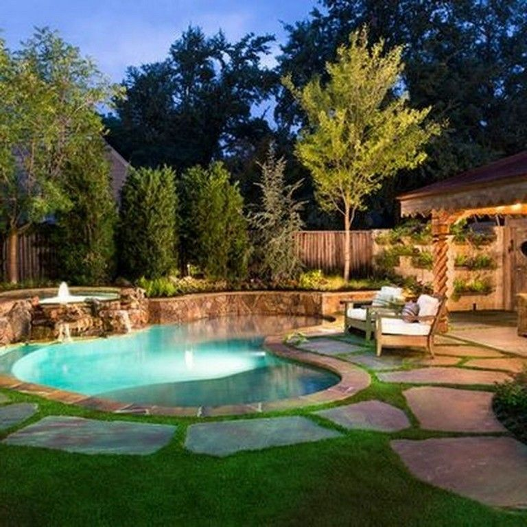 40 Lovely Natural Small Pools Design Ideas Best For Private Backyard Backyarddesign Poollandscapingideas Small Pool Design Small Backyard Pools Backyard Pool