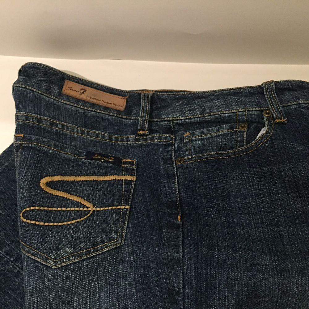 6955c25c8298 SEVEN 7 Womens Blue Denim Medium Wash Size 8 Flare Stretch Premium ...