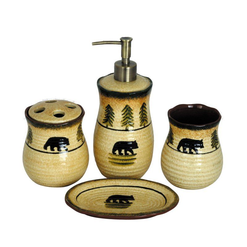 HiEnd Accents 40 Piece Bear Bathroom Accessories Set BA40 Adorable Decorative Bathroom Accessories Sets