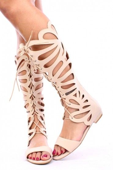 859553b533913 BEIGE NUBUCK BUTTERFLY CUTOUT LACE UP GLADIATOR SANDALS,Women's Boots-Sexy  Boots,Heel Boots,Over The Knee Boots,Platform Boots,Knee High Boots,High  Heel ...